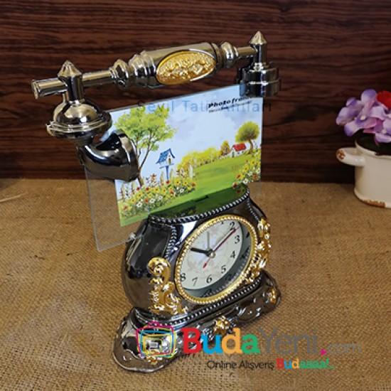 Dekoratif Telefon Görünümlü Masa Saati Çerçeve