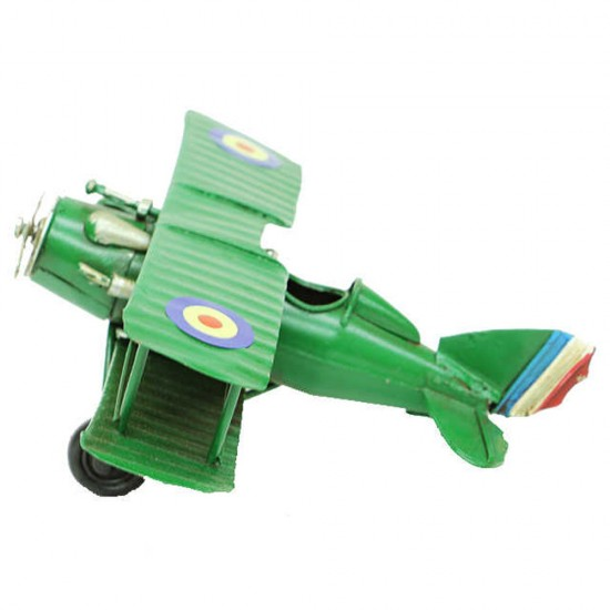Dekoratif Yeşil Metal Uçak Çift Kanatlı