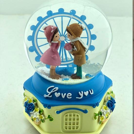 Dönme Dolap Önünde Sevgililer Kar Küresi ve Müzik Kutusu (Mavi) Model 2
