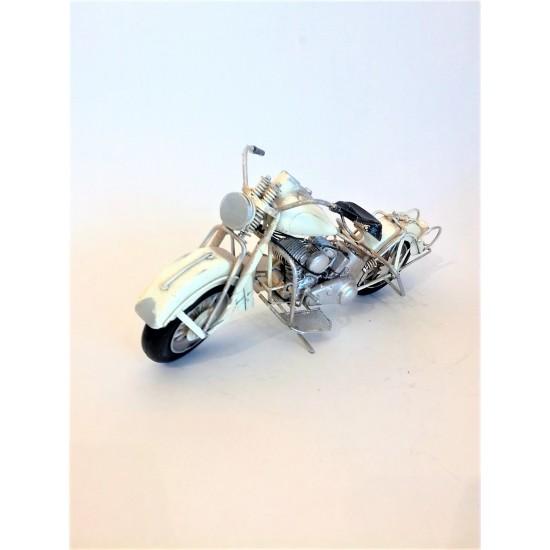 El Yapımı Metal Nostajik Büyük Boy Motorsiklet BEYAZ