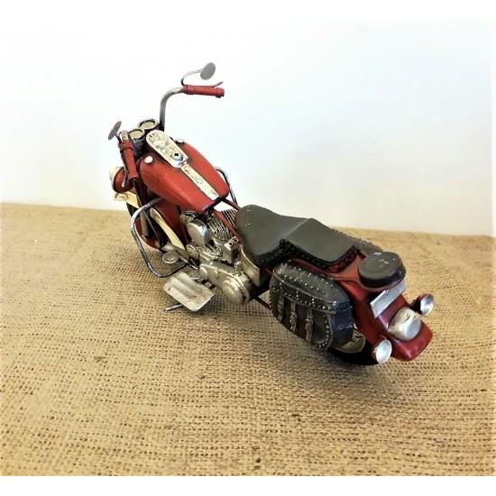 El Yapımı Metal Nostajik Büyük Boy Motorsiklet KIRMIZI