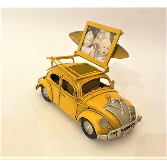 El Yapımı Vosvos ve Kalemlik Metal Araba (Sarı)