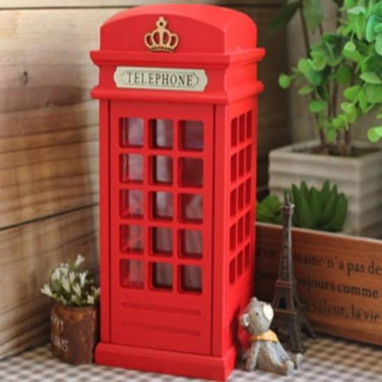 İngiliz Telefon Kulübesi Ahşap Kumbara