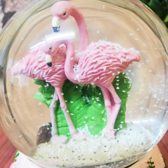 Işıklı Müzikli Flamingo Kar Küresi