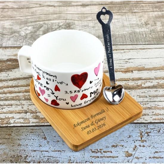 İsme Özel Ahşap Mıknatıslı Tepsili Aşk Temalı Beyaz Kahve Seti