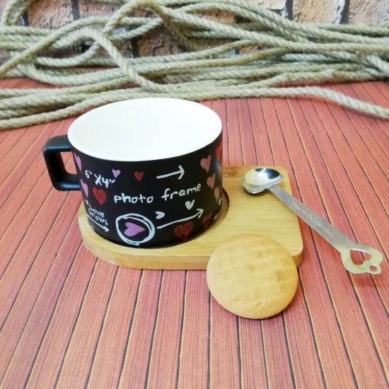 İsme Özel Ahşap Mıknatıslı Tepsili Aşk Temalı Siyah Kahve Seti