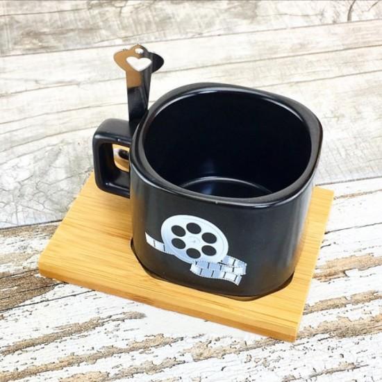 İsme Özel Ahşap Mıknatıslı Tepsili Klaket Temalı Kahve Seti