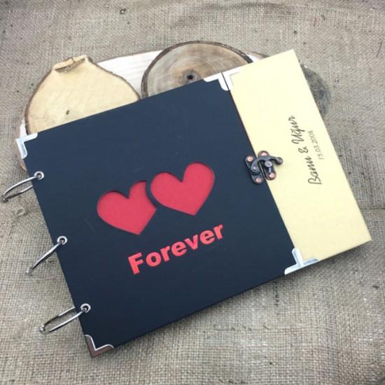 İsme Özel Çift Kalpli Kendin Yap Fotoğraf Albümü