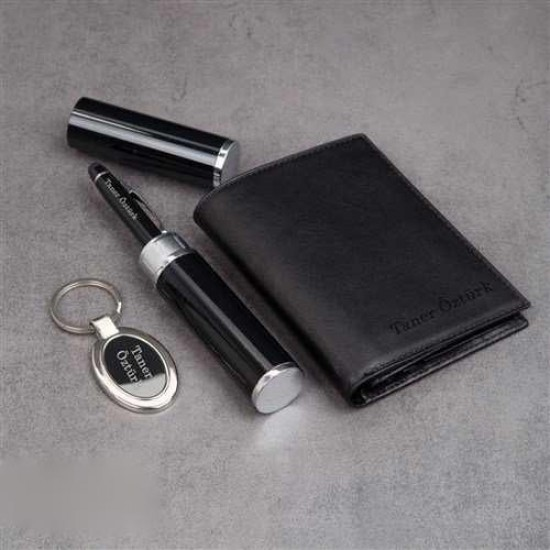 İsme Özel Deri Erkek Cüzdan ve İsme Özel Kalem ve Anahtarlık Seti