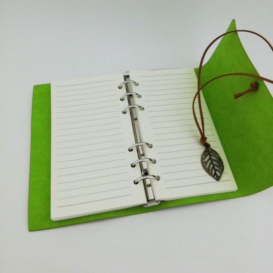 İsme Özel Deri Kapaklı Retro Hatıra Defteri ve Kalem Seti (Yeşil)