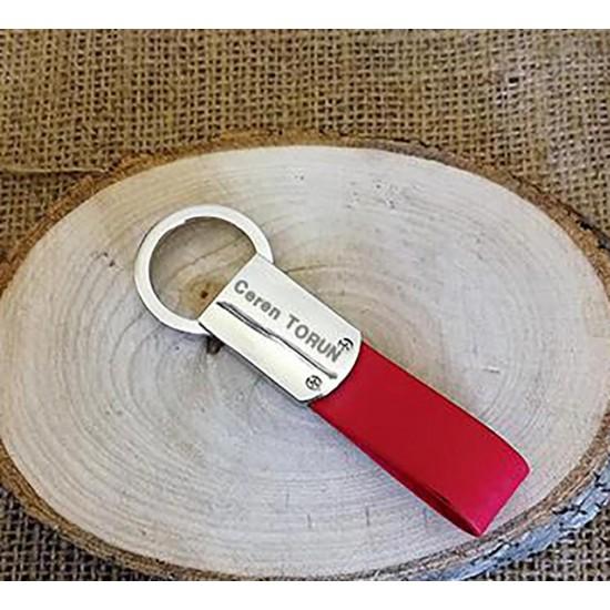 İsme Özel Derili ve Metal Anahtarlık (Kırmızı)