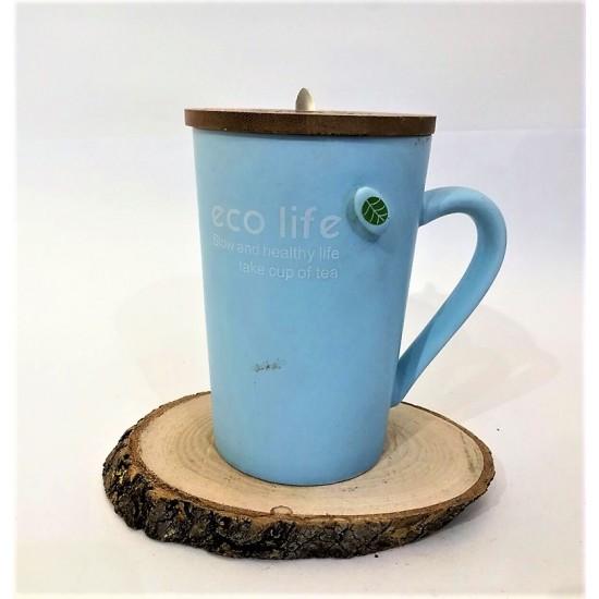 İsme Özel Eco Life Kupa Bardak Kapaklı Kaşıklı Mavi