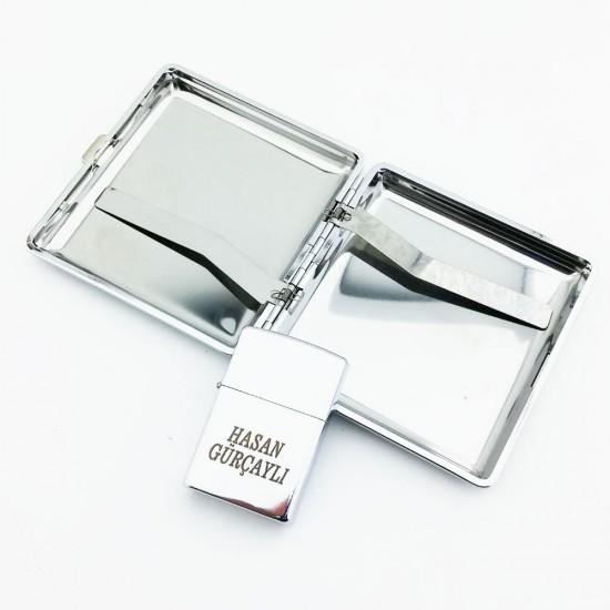 İsme Özel Gümüş Zippo Görümlü Çakmak Tabaka Set