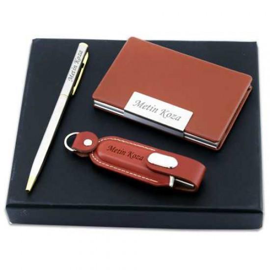 İsme Özel Kartvizit Kalem Usb Set 16 GB Kahverengi
