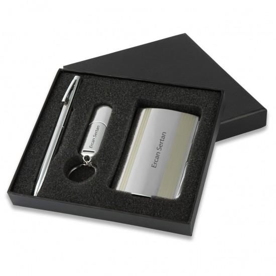 İsme Özel Kartvizit Kalem Usb Set 16 GB Metal