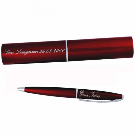 İsme Özel Kutulu Metal Kırmızı Kalem