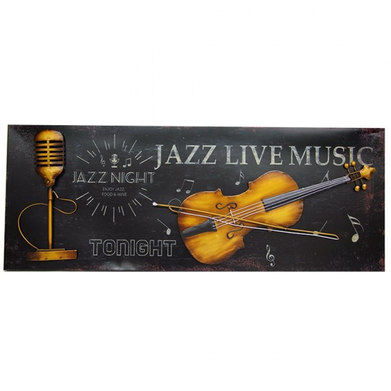 Jazz Live Music - Keman ve Nostaljik Mikrofon Duvar Panosu