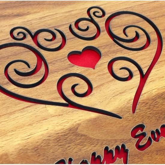 Kalp Desenli Ahşap Kendin Yap Fotoğraf Albümü
