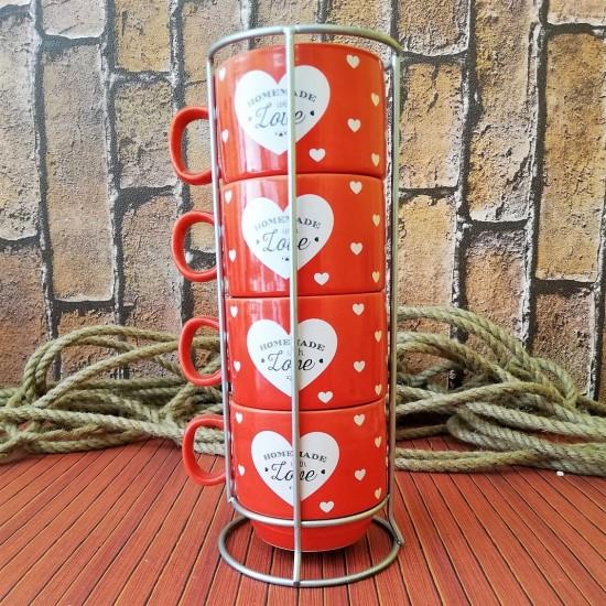 Kalp Temalı 4'lü Kupa Bardak (Kırmızı)