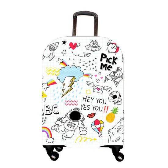 Karışık Objeler Temalı My Luggage Valiz Kılıfı