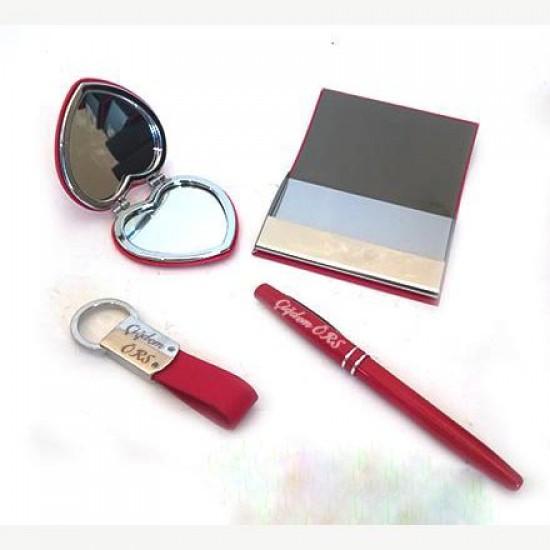 Kartvizitlik Kalem Anahtarlık ve Ayna Seti (Kırmızı)