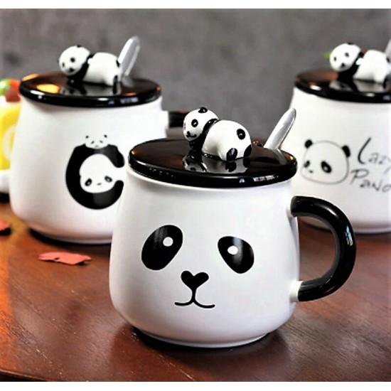 Kaşıklı Kapaklı Sevimli Panda Kupa Bardak