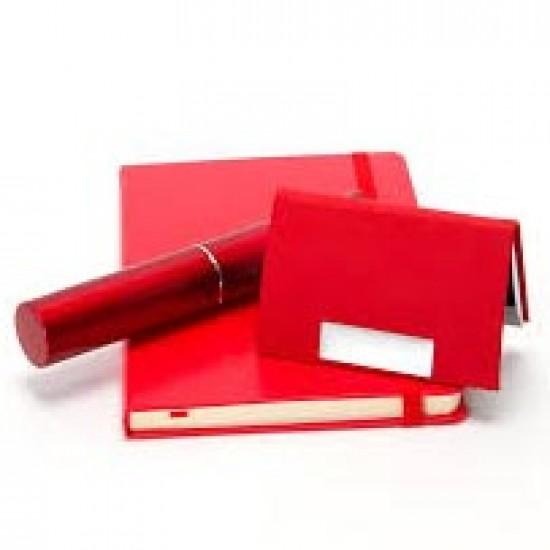 Kişiye Özel Kırmızı Kalem ve Kartvizitlik Defter Seti