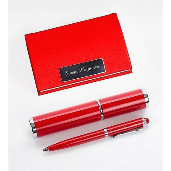 Kişiye Özel Kırmızı Kalem ve Kartvizitlik Set