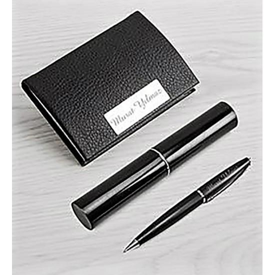 Kişiye Özel Siyah Kalem ve Kartvizitlik Set