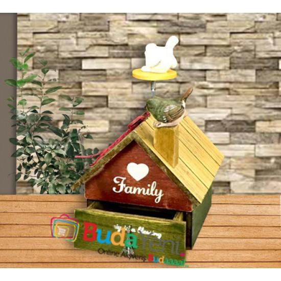 Kuş Yuvası Tasarımlı Ahşap Ev ve Müzik Kutusu