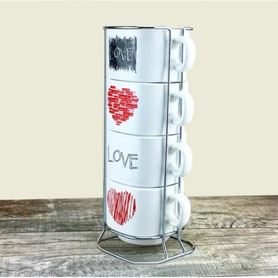 Love Tasarımlı 4'lü Kupa Bardak Kulesi