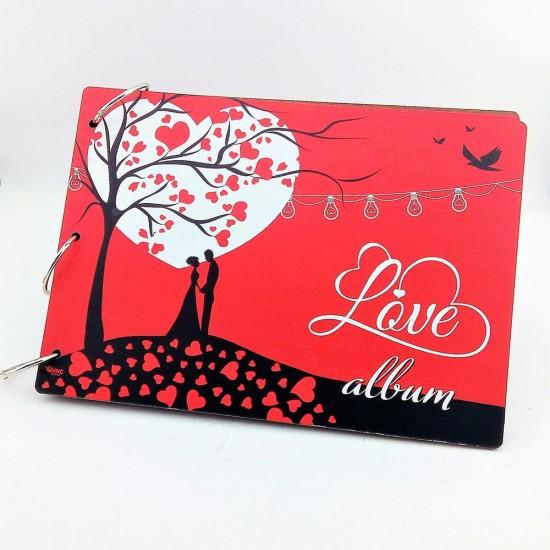 Love Temalı Ahşap Kapaklı Kendin yap Fotoğraf Albümü