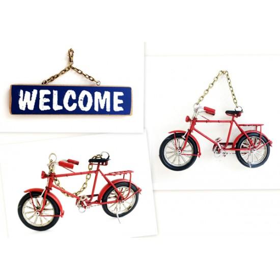 Metal Bisiklet Welcome Yazılı Duvar Süsü Model 2