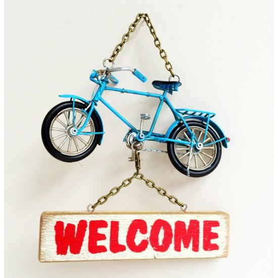 Metal Bisiklet Welcome Yazılı Duvar Süsü