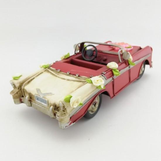 Metal Nostaljik Kırmızı Chevrolet Gelin Arabası