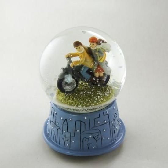 Motosikletli Sevgililer Işıklı Kar Küresi ve Müzik Kutusu