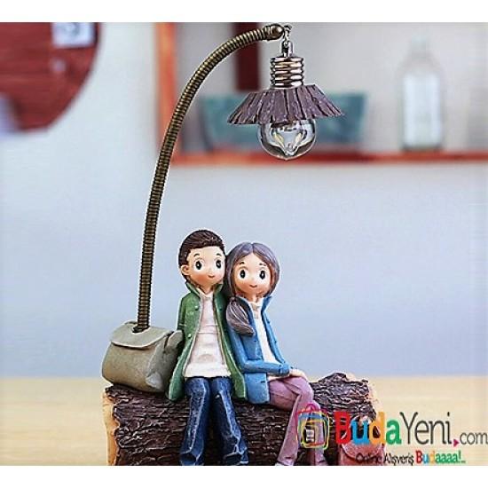 Mutlu Sevgili Çiftler Işıklı Biblo