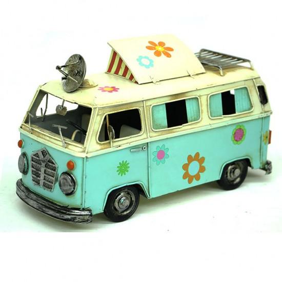 Nostalji Camper Van Classic Vosvos Araba Karavan Yeşil renk