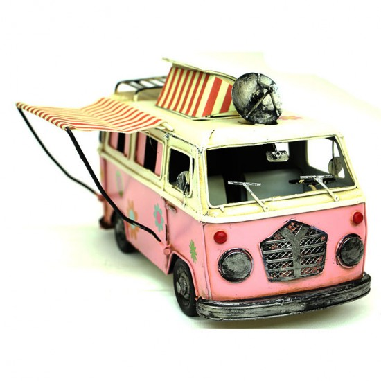 Nostalji Camper Van Classic Vosvos Tenteli Karavan Araba Pembe renk