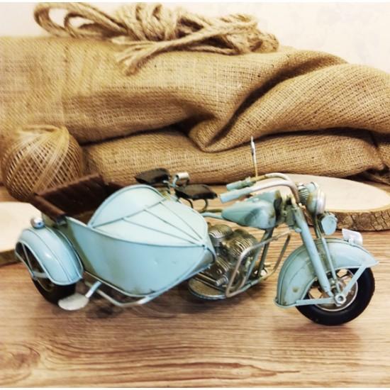 Nostalji Sepetli Motorsiklet Metal