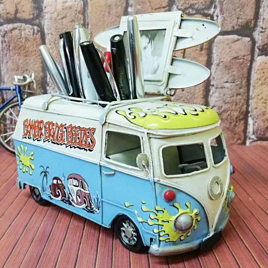 Nostaljik Dekoratif Kalemlikli Çerçeveli Vosvos Minibüs Orta Boy
