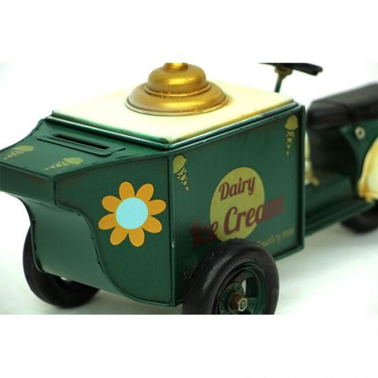 Nostaljik Dekoratif Metal Dondurma Arabası Yeşil