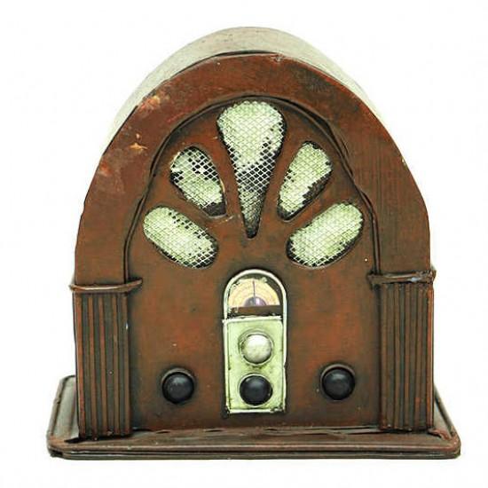 Nostaljik Dekoratif Metal Eski Radyo Kumbara