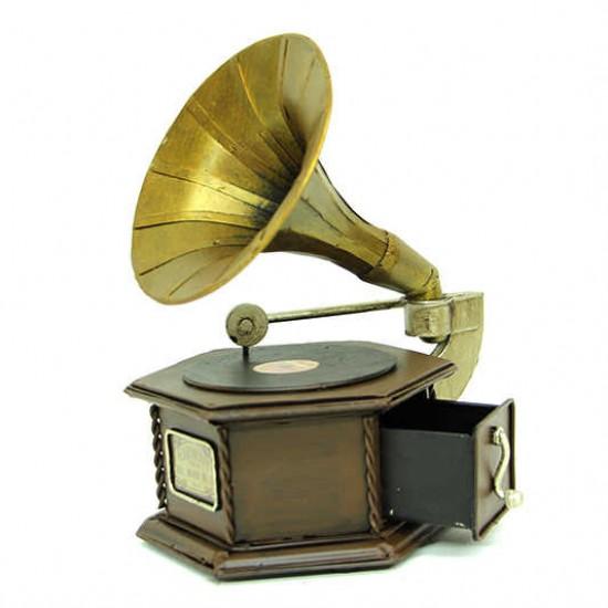 Nostaljik Dekoratif Metal Gramafon Kutu