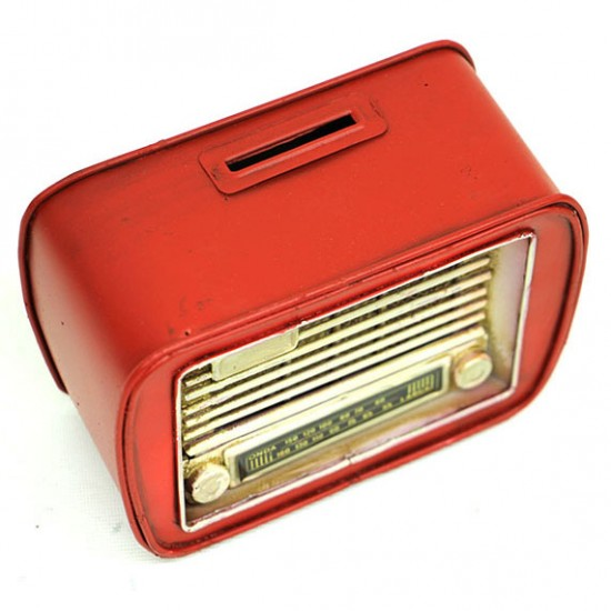 Nostaljik Dekoratif Metal Radyo Kumbara Kırmızı