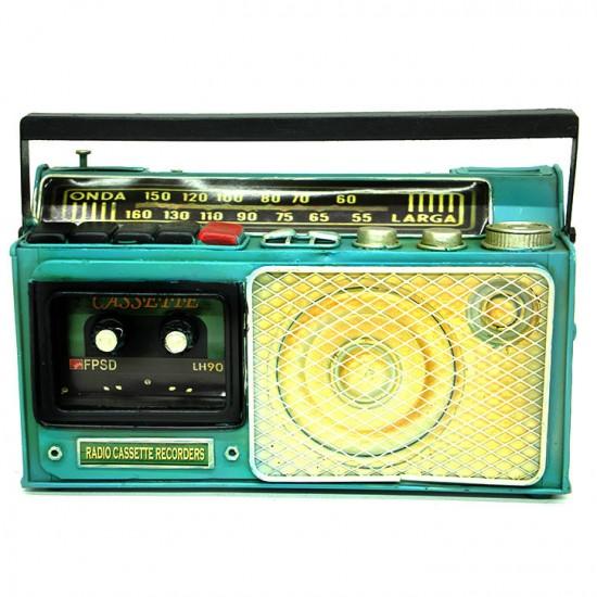 Nostaljik Dekoratif Metal Radyo Kumbara Yeşil