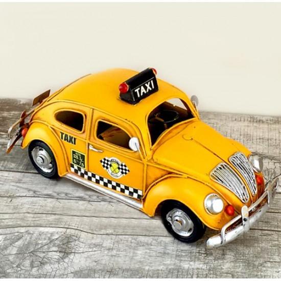 Nostaljik Dekoratif Metal Sarı Vosvos Taksi Büyük Boy