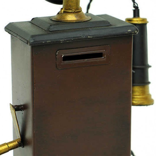 Nostaljik Dekoratif Metal Telefon Kumbara