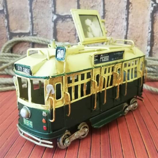 Nostaljik Dekoratif Metal Tramvay Çerçeveli Yeşil