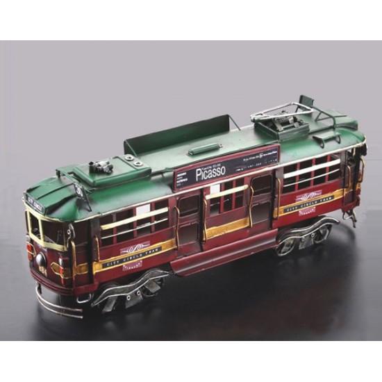 Nostaljik Dekoratif Metal Tramvay Modeli